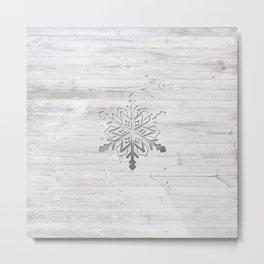 Snow in Silver Metal Print
