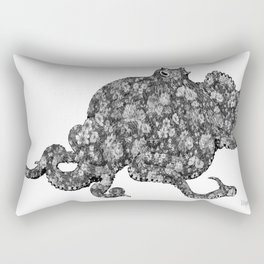 Black and White Floral Octopus  Rectangular Pillow