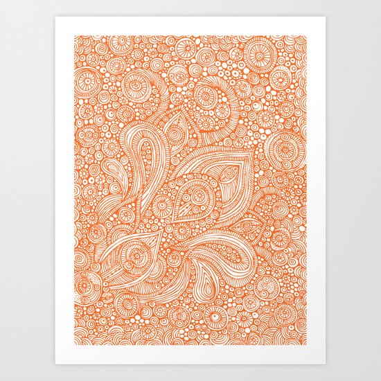 Orange doodles Art Print