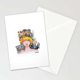 Alice in Wonderland Rendition Cartoonised Drawing Stationery Cards