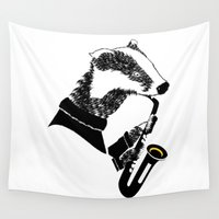 badger Wall Tapestries featuring Badger Saxophone by mailboxdisco