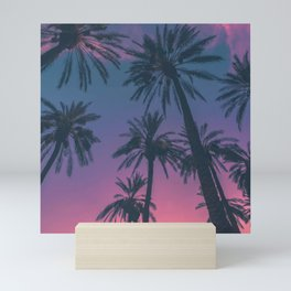 Palm Trees at Sunset: Natural Scenery with purple and pink colors Mini Art Print