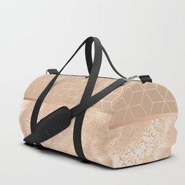 MARBLE HAZELNUT ROSEGOLD & HEXAGONAL Duffle Bag