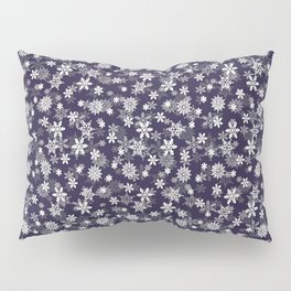 Festive Eclipse Blue and White Christmas Holiday Snowflakes Pillow Sham