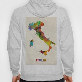 Italy Watercolor Map, Italia Hoody
