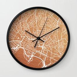 Rose gold Oslo map Wall Clock
