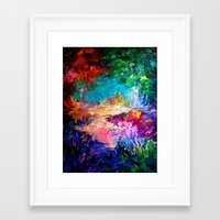 jazzberry Framed Art Prints featuring WELCOME TO UTOPIA Bold Rainbow Multicolor Abstract Painting Forest Nature Whimsical Fantasy Fine Art by EbiEmporium