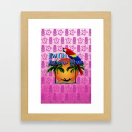 Pink Tiki Island Time And Parrot Framed Art Print