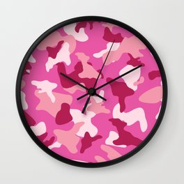 Pink camo camouflage army pattern Wall Clock
