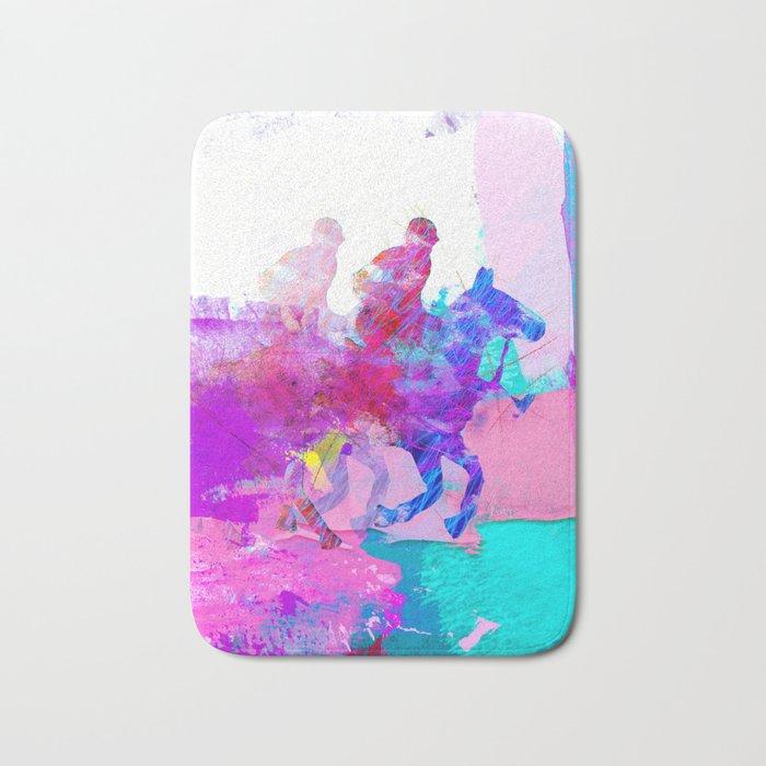 poloplayer abstract redblue Bath Mat
