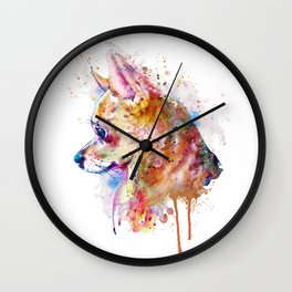 Watercolor Chihuahua Wall Clock