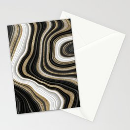 Gold And Black Agate Gemstone Stationery Cards