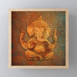 Lord Ganesh On a Distress Stone Background Framed Mini Art Print