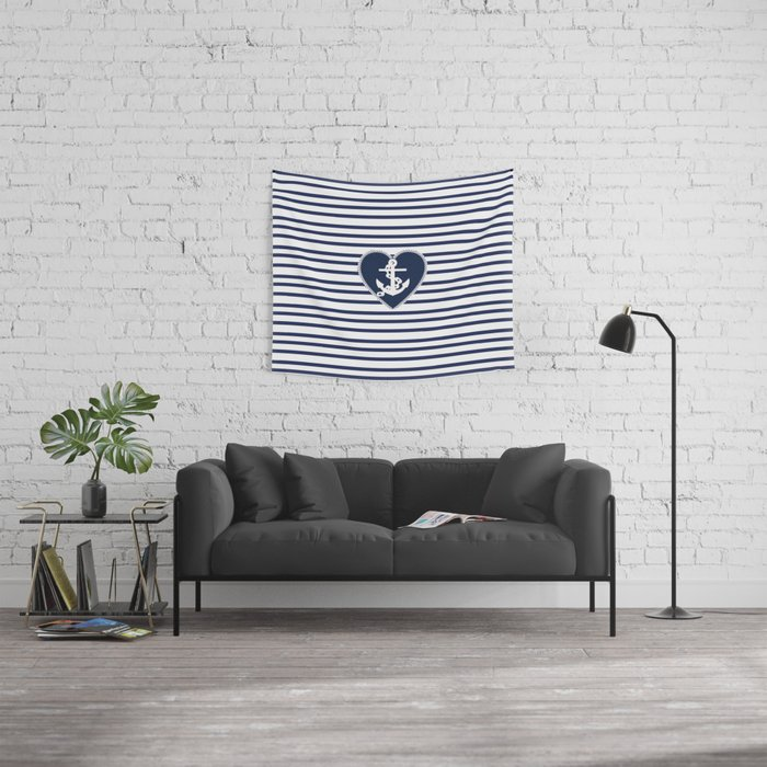 Modern navy blue white heart anchor nautical stripes Wall Tapestry