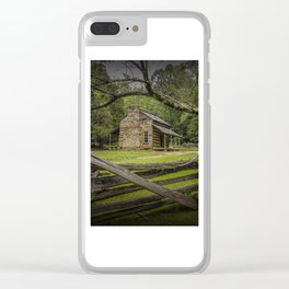 Oliver Log Cabin in Cade's Cove Clear iPhone Case