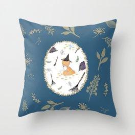 Blue Magical Fox Throw Pillow