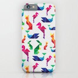 Rainbow Tangram Geomtric Animals iPhone Case