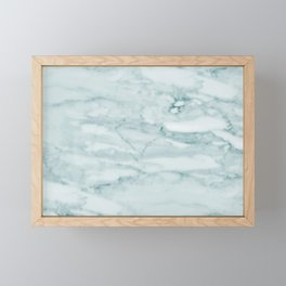 Marble Pale Teal Sea Green Marble Framed Mini Art Print