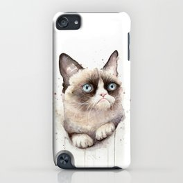 Grumpy Watercolor Cat Animals Meme Geek Art iPhone Case