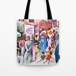 African American Masterpiece 'Sunday in Harlem' Portrait by Miguel Covarrubias Tote Bag