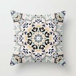 Floral Multicolored Mandala with Light Linen Texture Throw Pillow