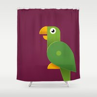 parrot Shower Curtains featuring Parrot by Mezoozoo