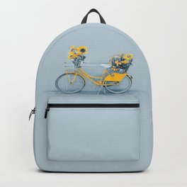 Yellow vintage bike with sunflowers Backpack