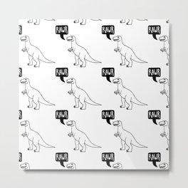 RAWR – Roaring dinosaur pattern.  Metal Print