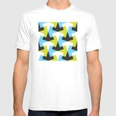 Geometric pattern (green + blue) Mens Fitted Tee MEDIUM White