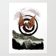 Spiral Dragon over Poenari Castle Art Print