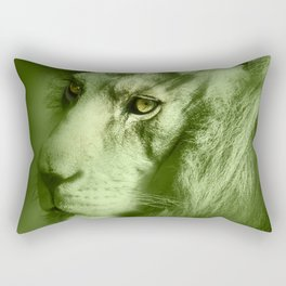 Fantasy Lion of Legend in Green-Glow Rectangular Pillow