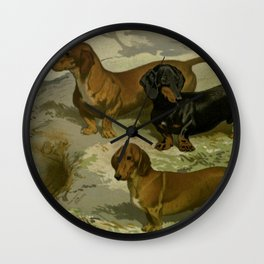 Vintage Dachshunds Wall Clock