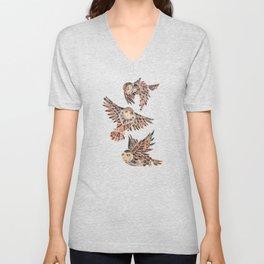 Owls in Flight – Brown Palette Unisex V-Neck