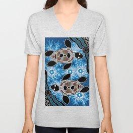 Aboriginal Art - Sea Turtles Unisex V-Neck