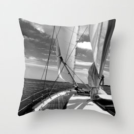 Black - white sailboat details | Annapolis, MD Throw Pillow