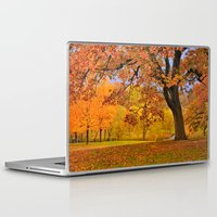 wes anderson Laptop & iPad Skins featuring Fall at Larz Anderson by LudaNayvelt
