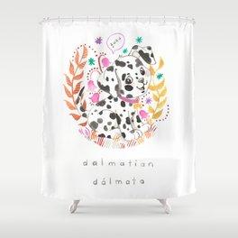 Dalmatian Nursery Illustration Shower Curtain