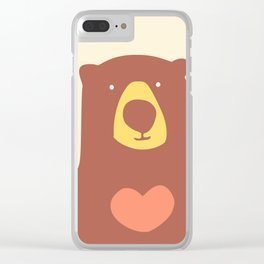 Bear with a heart pink overlay Clear iPhone Case