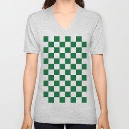 Checkered (Dark Green & White Pattern) Unisex V-Neck