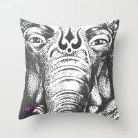 ganesha Throw Pillows featuring Ganesha by Morgan Soto
