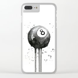 8-Ball Watercolor Black Pool Billiards Eight Ball Art Clear iPhone Case