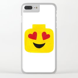 Heart Eyes - Emoji Minifigure Painting Clear iPhone Case