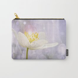 White Flower In The Forest Enchantments - Bokeh Background #decor #buyart #society6 Carry-All Pouch