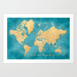 World map art prints society6 take me anywhere world map prints in sizes l xl only art print sciox Images