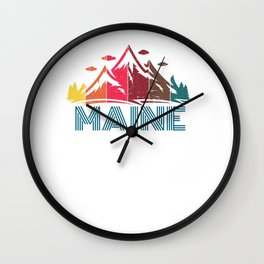Retro Maine Mountain Design for Men Women and Kids Wall Clock