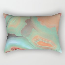 Living Coral and Teal Agate Rectangular Pillow