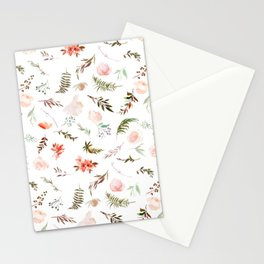 Coral pink green watercolor hand painted floral Stationery Cards
