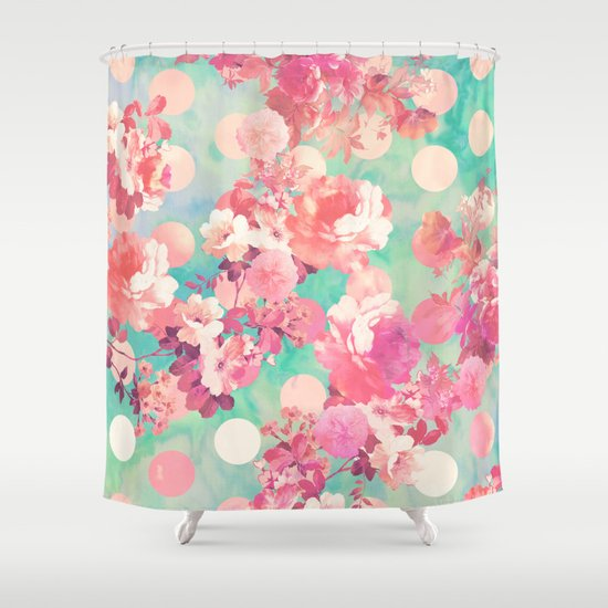 Romantic Pink Retro Floral Pattern Teal Polka Dots Shower Curtain