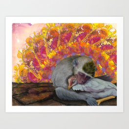 Just Another Monkey In Love With A Chicken Art Print