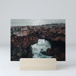 Waves crashing at Boca do Inferno   Cascais Portugal Mini Art Print